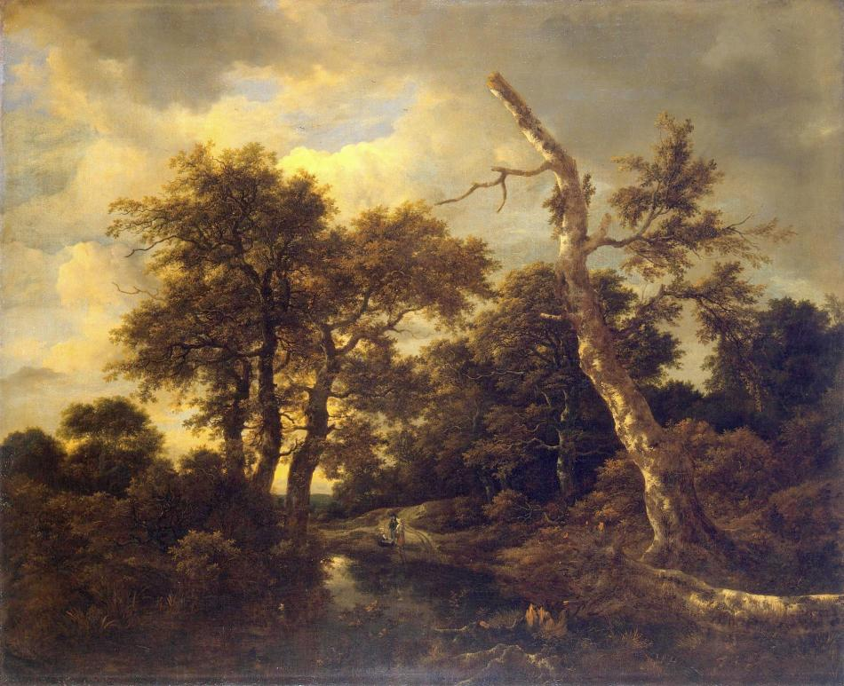 Jacob van Ruisdael – The Hermitage Museum ГЭ-936. Title: Rivulet in a Forest.  Date: c. 1660s. Materials: oil on canvas. Dimensions: 104.5 x 128 cm. Nr. ГЭ-936:  Source: http://www.hermitagemuseum.org/wps/portal/hermitage/digital-collection/01.+Paintings/44431/?lng=en. I have changed the light, contrast and colors of the original photo.