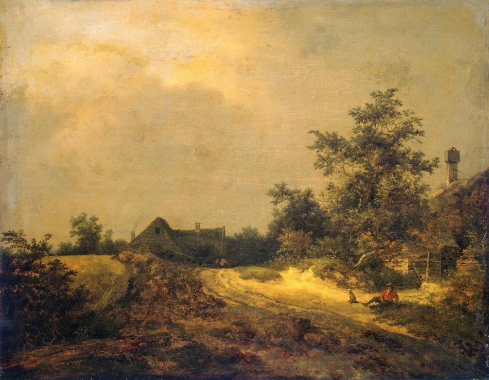 Jacob van Ruisdael – The Hermitage Museum ГЭ-933. Title: Peasant Cottages in Dunes.  Date: 1647. Materials: oil on panel. Dimensions: 52.5 x 67 cm. Acquisition date: 1781. Nr.: ГЭ-933. Source: http://hermitagemuseum.org/wps/portal/hermitage/digital-collection/01.+Paintings/44424/?lng=en. I have changed the light, contrast and colors of the original photo