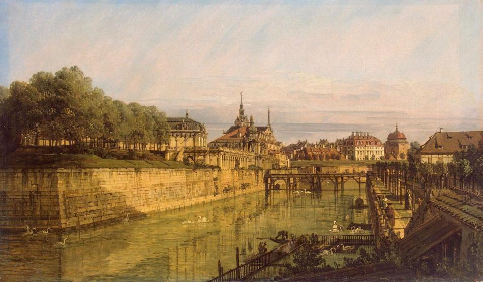 Bernardo Bellotto – The Hermitage Museum ГЭ-1384. Title: Moat of Zwinger in Dresden.  Date: c. 1750s. Materials: oil on canvas. Dimensions: 49 x 83 cm. Source: http://www.hermitagemuseum.org/wps/portal/hermitage/digital-collection/01.+Paintings/32330/?lng=en. I have changed the light, contrast and colors of the original photo.