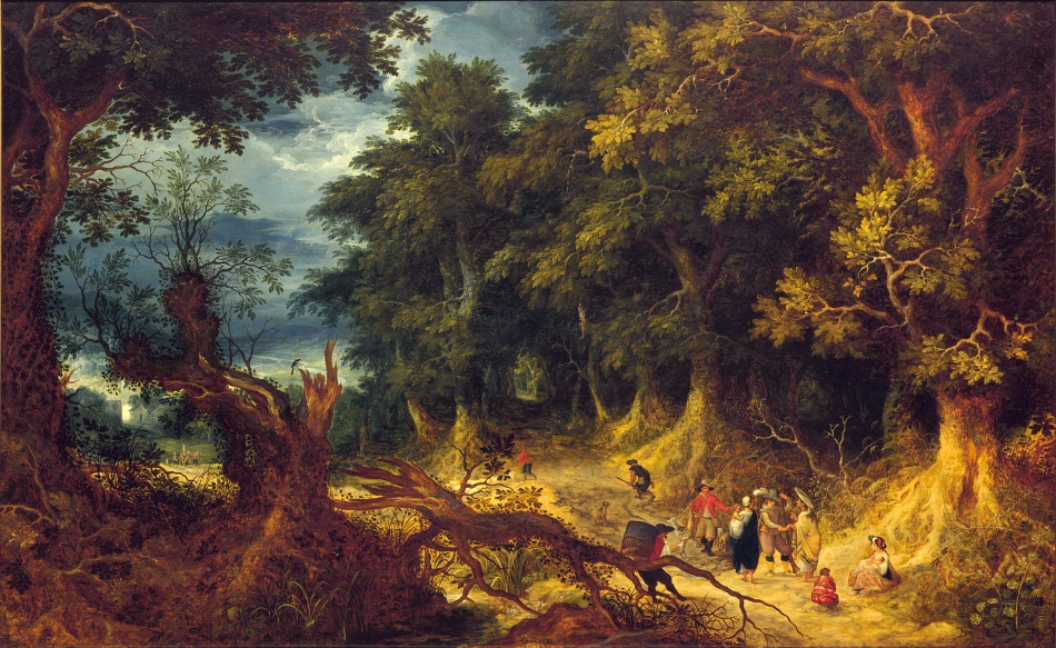 Abraham Govaerts – Mauritshuis 45. Title: Wooded Landscape with Gipsy Women. Date: 1612. Materials: oil on panel. Dimensions: 62.5 x 101 cm. Inscriptions: AGOVAERTS / .1.6.12. Nr.: 45. Source: https://www.mauritshuis.nl/en/explore/the-collection/artworks/wooded-landscape-with-gipsy-women-45/#. I have changed the light and contrast of the original photo.