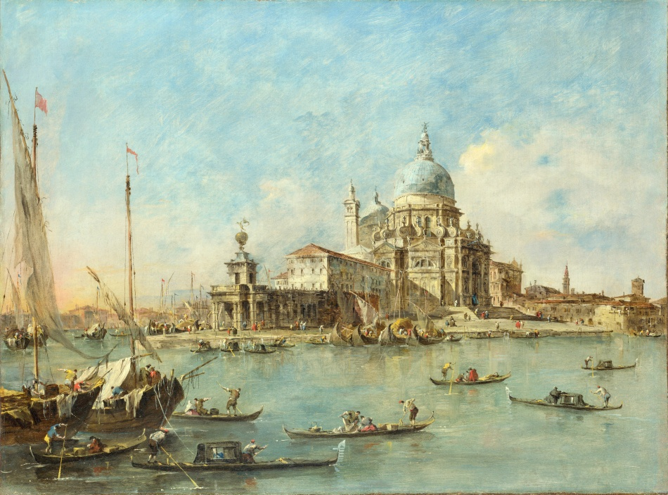 Francesco Guardi – The National Gallery (London) NG2098. Title: Venice: The Punta della Dogana with S. Maria della Salute. Date: c. 1770. Materials: oil on canvas. Dimensions: 56.2 x 75.9 cm. Acquisition date: 1906. Nr.: NG2098. Source: http://wallpapers-fenix.eu/full/141206/111140892.jpg. I have changed the light, contrast and colors of the original photo.