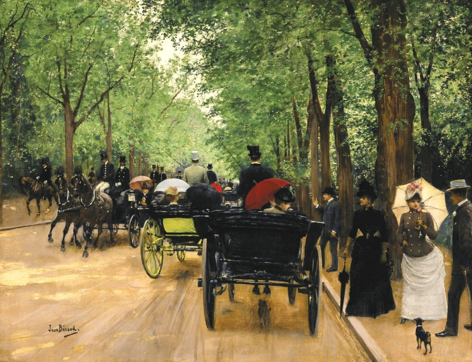 Jean Béraud – private collection. Title: Bois de Boulogne. Date: c. 1880-1900. Materials: oil on canvas. Dimensions: 45.7 x 58.4 cm. Inscriptions: Jean Béraud. (lower left). Sold by Sotheby's in New York, on May 18, 2016. Source: http://www.sothebys.com/content/dam/stb/lots/N09/N09499/146N09499_8Z5JZ.jpg. I have changed the light and contrast of the original photo.