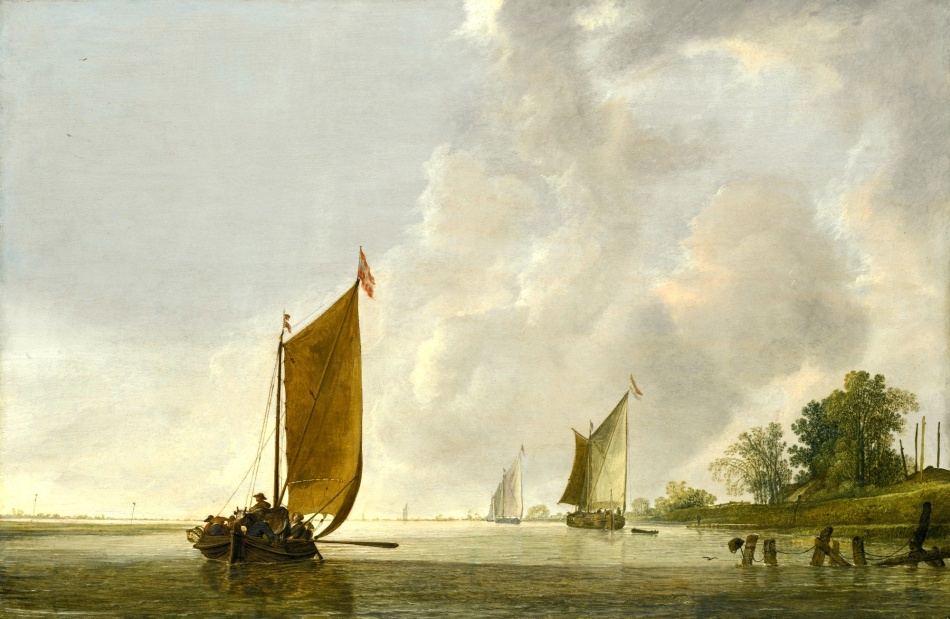 Simon de Vlieger – private collection. Title: A Calm Estuary at Dawn with a Dutch Kaag. Date: c 1630-1635. Materials: oil on panel. Dimensions: 38.8 x 59.1 cm. Sold by Sotheby's in New York, on April 22, 2015. Source: http://www.sothebys.com/content/dam/stb/lots/N09/N09335/183N09335_4D9LR.jpg. I have changed the light, contrast and colors of the original photo.