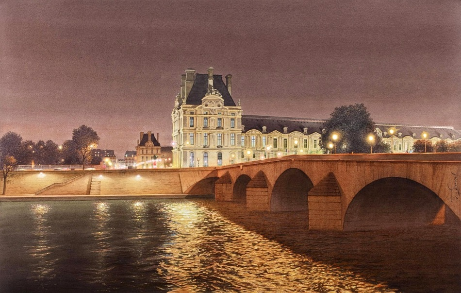 Thierry Duval – private collection. Title: Le Louvre et le Port Royal. Date: after 2010. Materials: watercolor. Dimensions: 82 x 52 cm. Source: http://4.bp.blogspot.com/-VLS7BCxsslM/VVNqdLURYPI/AAAAAAAAflc/DNL1ExhaFpY/s1600/23-Louvre-Pont-Royal-Thierry-Duval-Snippets-of%2BReal-Life-in-Watercolor-Paintings-www-designstack-co.jpg. I have changed the contrast and colors of the original photo.