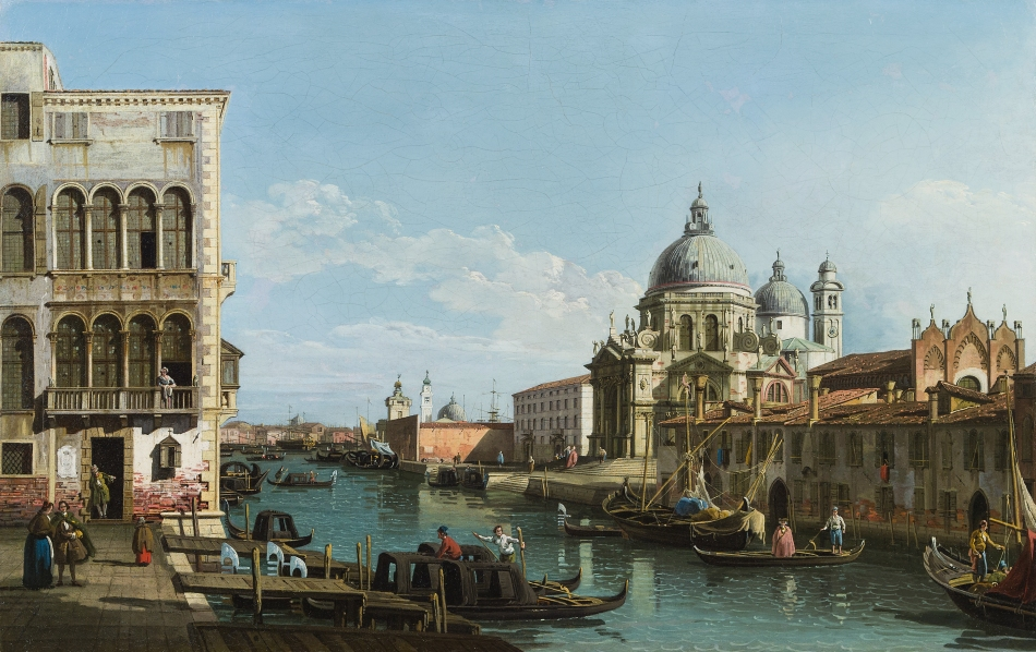 Bernardo Bellotto (circle of) – private collection. Title: The Entrance to the Grand Canal, Venice, looking East, with the Church of Santa Maria della Salute. Date: c. 1740-1780. Materials: oil on canvas. Dimensions: 63.5 x 98.5 cm. Auctioned by im Kinsky Auktionshaus, in Vienna, on June 23-24, 2014. Source: http://www.imkinsky.com/wp-content/uploads/2014/06/53680a.jpg.