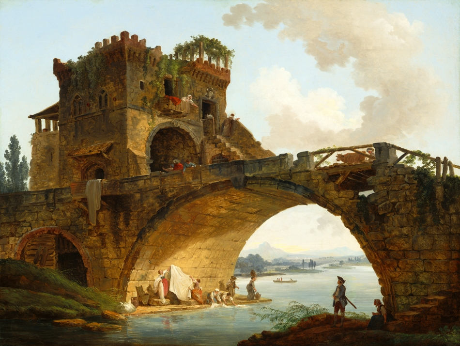 Hubert Robert – National Gallery of Art 1952.5.50. Title: The Ponte Salario. Date: c. 1775. Materials: oil on canvas. Dimensions: 91.3 x 121 cm. Nr.: 1952.5.50. Source: http://www.nga.gov/content/ngaweb/Collection/art-object-page.41665.html. I have changed the light, contrast and colors of the original photo.