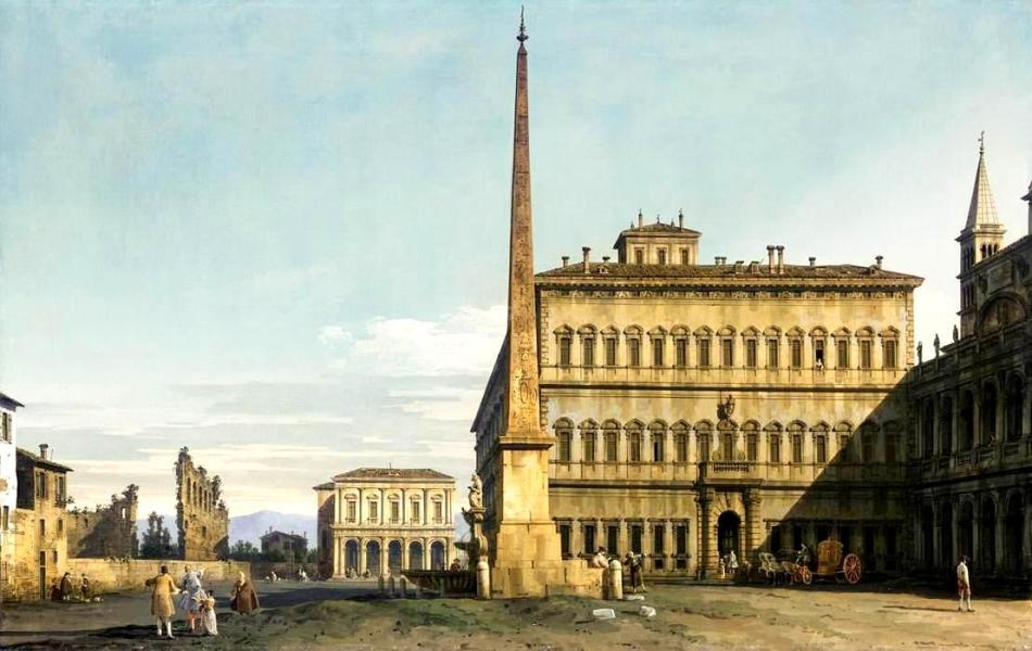 Bernardo Bellotto – private collection. Title: Rome: View of the Piazza di San Giovanni in Laterano. Date: c. 1743-1744. Materials: oil on canvas. Dimensions: 63 x 99 cm. Source: https://commons.wikimedia.org/wiki/File:Bernardo_Bellotto_-_Rome_-_View_of_the_Piazza_di_San_Giovanni_in_Laterano_-_WGA01820.jpg. I have changed the light and contrast of the original photo.