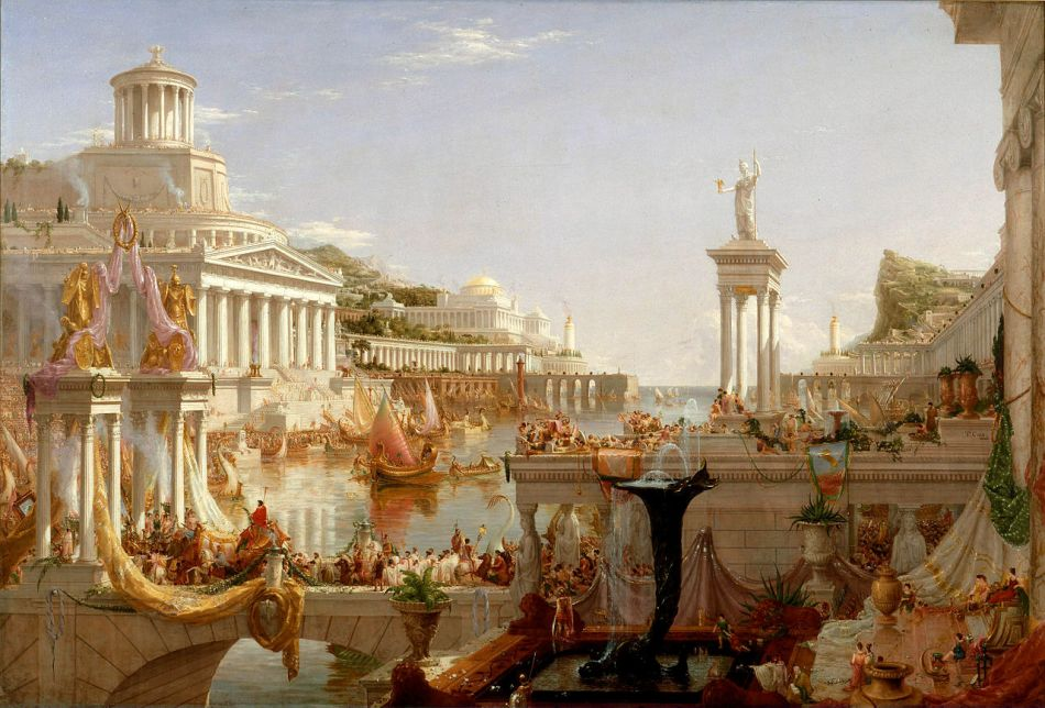 Thomas Cole – New-York Historical Society 1858.3. Title: The Course of Empire: The Consummation of Empire. Date: 1835-1836. Materials: oil on canvas. Dimensions: 165.1 x 226.7 cm. Inscriptions: T. Cole/1836. Nr.: 1858.3. Source: https://en.wikipedia.org/wiki/File:Cole_Thomas_The_Consummation_The_Course_of_the_Empire_1836.jpg. I have changed the light, contrast and colors of the original photo.
