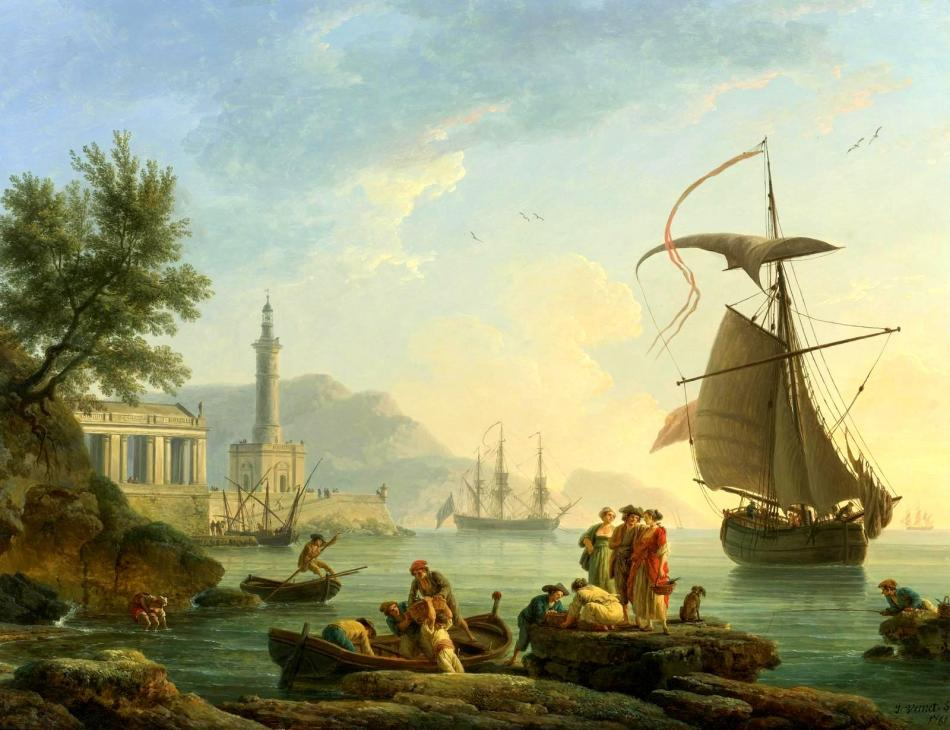 Claude-Joseph Vernet – private collection. Title: A Mediterranean Harbor at Sunset with Fisherfolk at the Water's Edge, a Lighthouse and a Man of War at Anchor in the Bay. Date: 1861. Materials: oil on copper. Dimensions: 56.8 x 74.3 cm. Inscriptions: J.Vernet.f/1761 (lower right). Sold by Sotheby's, in New York, on January 27, 2011. Source: http://www.the-athenaeum.org/art/display_image.php?id=339311. I have changed the light and contrast of the original photo.