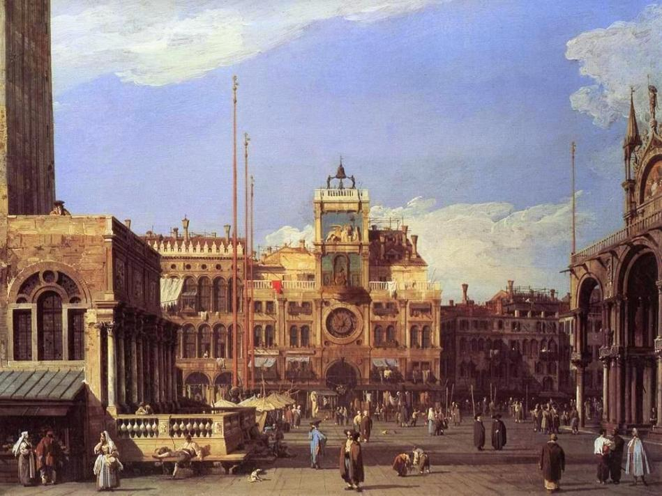 Canaletto – The Nelson-Atkins Museum of Art 55-36. Title: The Clock Tower in the Piazza San Marco. Date: c. 1728-1730. Materials: oil on canvas. Dimensions: 52.1 x 69.5 cm. Nr.: 55-36. Source: https://upload.wikimedia.org/wikipedia/commons/2/27/Giovanni_Antonio_Canal%2C_il_Canaletto_-_Piazza_San_Marco_-_the_Clocktower_-_WGA03885.jpg. I have changed the colors of the original photo.