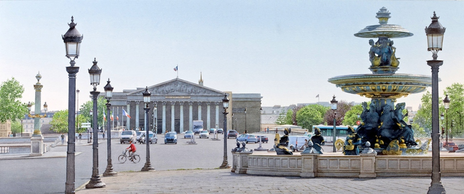 Thierry Duval – private collection. Title: La place de la Concorde. Date: 2014? Materials: watercolor. Dimensions: 34 x 82 cm. Source: http://www.chambre237.com/wp-content/uploads/2015/03/Irr%C3%A9sistible-Paris-en-Aquarelles-de-Thierry-Duval-05.jpg. I have changed the light and contrast of the original photo.