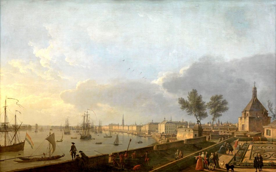 Claude-Joseph Vernet – Musée national de la Marine 8302. Title: Vue du Port de Bordeaux, prise du château Trompette. Date: 1759. Materials: oil on canvas. Dimensions: 165 x 263 cm. Nr.: inv. 8302. Source: http://mnm.webmuseo.com/ws/musee-national-marine/app/file/download/num-5-OA-10-D-b-0811-H.jpg?key=894030z2oy7u8zgwz52vqdj00htk8hex6&thumbw=2000&thumbh=1500. I have changed the light, contrast and colors of the original photo.