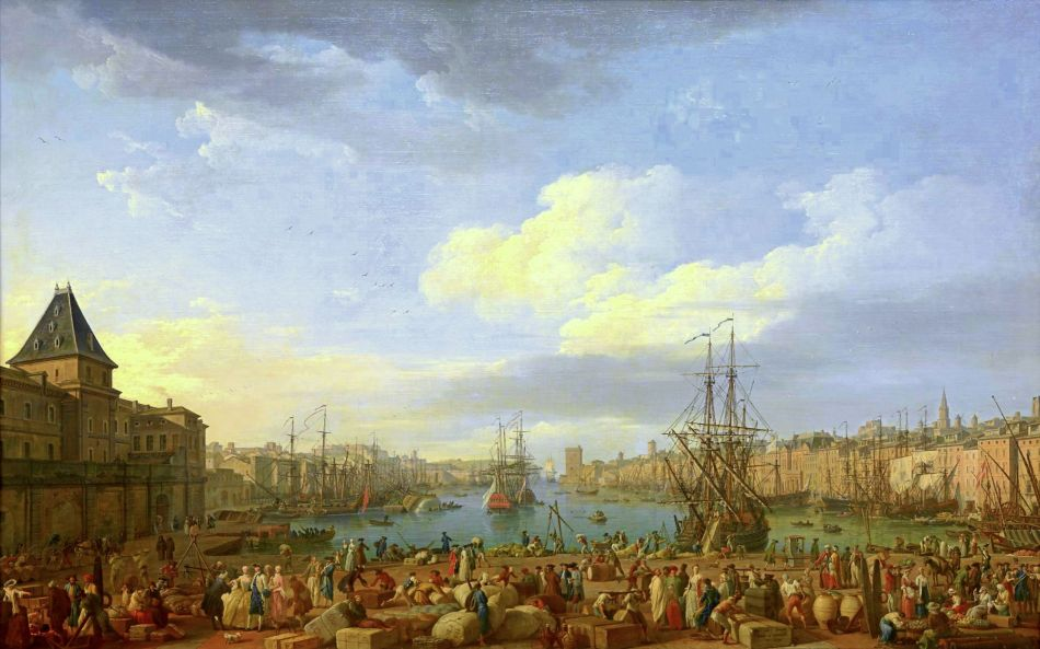 Claude-Joseph Vernet –Musée national de la Marine MnM 5 OA 3 D. Title: L'Intérieur du Port de Marseille, vu du Pavillon de l'horloge du Parc. Date: 1753. Materials: oil on canvas. Dimensions: 165 x 263 cm. Nr.: MnM 5 OA 3 D. Source: http://mnm.webmuseo.com/ws/musee-national-marine/app/file/download/num-5-OA-3-D-b-0811-H.jpg?key=9ea3f0zwpgt6kzhdxyo0hr200htk8hgom&thumbw=2000&thumbh=1500. I have changed the light, contrast and colors of the original photo.