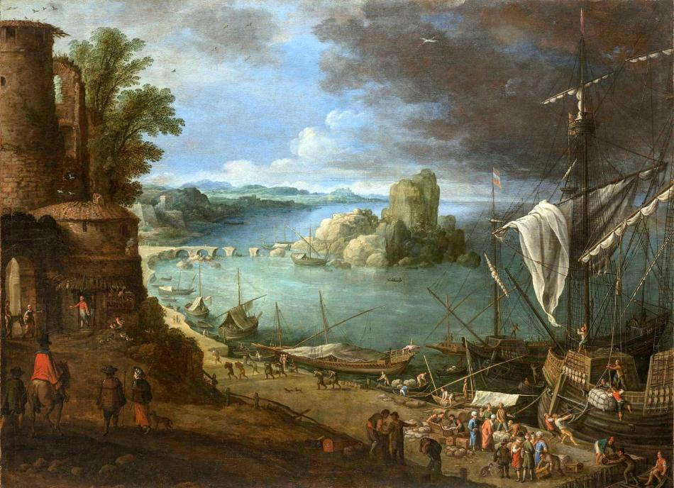 Paul Bril – The Hermitage Museum ГЭ-2593. Title: Sea Harbour. Date: c. 1610-1615. Materials: oil on canvas. Dimensions: 100 x 137 cm. Acquisition date: 1926. Nr.: ГЭ-2593. Source: http://www.hermitagemuseum.org/wps/portal/hermitage/digital-collection/01.+Paintings/46601/?lng=en. I have changed the light and contrast of the original photo.