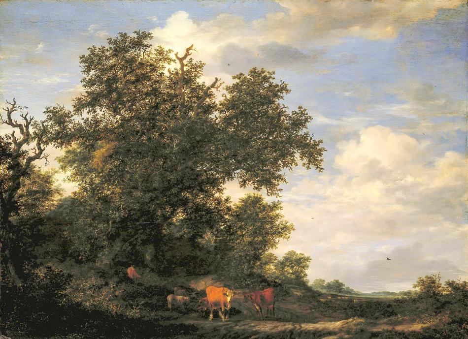 Jacob van Ruisdael – The Hermitage Museum ГЭ-2787. Title: Herd at the Edge of a Forest. Date: 1650. Materials: oil on panel. Dimensions: 84 x 115 cm. Acquisition date: 1910. Nr.: ГЭ-2787. Source: http://www.hermitagemuseum.org/wps/portal/hermitage/digital-collection/01.+Paintings/44849/?lng=en. I have changed the light, contrast and colors of the original photo.