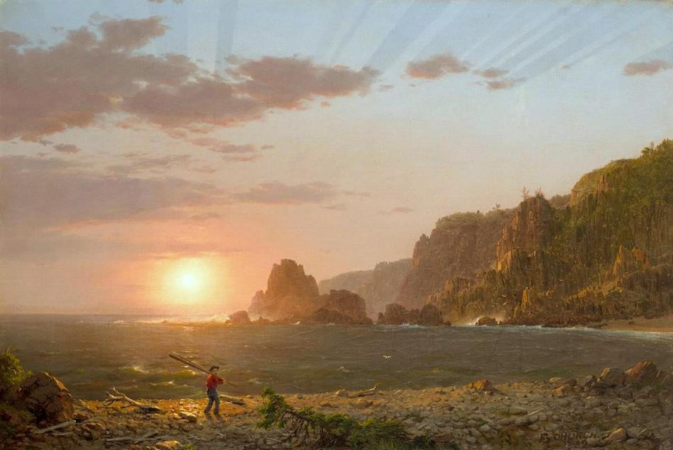 Frederic Edwin Church – Wadsworth Athenaeum 1898.6. Title: Grand Manan Island, Bay of Fundy. Date: 1852. Materials: oil on canvas. Dimensions: 54.4 x 81.1 cm. Nr.: 1898.6. Source: http://argus.wadsworthatheneum.org/Wadsworth_Atheneum_ArgusNet/Portal/public.aspx?lang=en-US. I have changed the light, contrast and colors of the original photo.