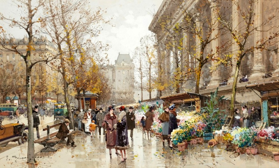 Eugène Galien-Laloue – private collection. Title: Le marché au fleurs place de la Madeleine à Paris. Date: c. 1910-1930. Materials: gouache. Dimensions: 18 x 30.5 cm. Sold by Hôtel des Ventes d'Enghien in Enghien-les-Bains, on May 29, 2011. Source: http://www.callaghan-finepaintings.com/art/ip/Eugene-Galien-Laloue/la-Madeleine/201/1.jpg?w=1000. I have changed the contrast of the original photo.