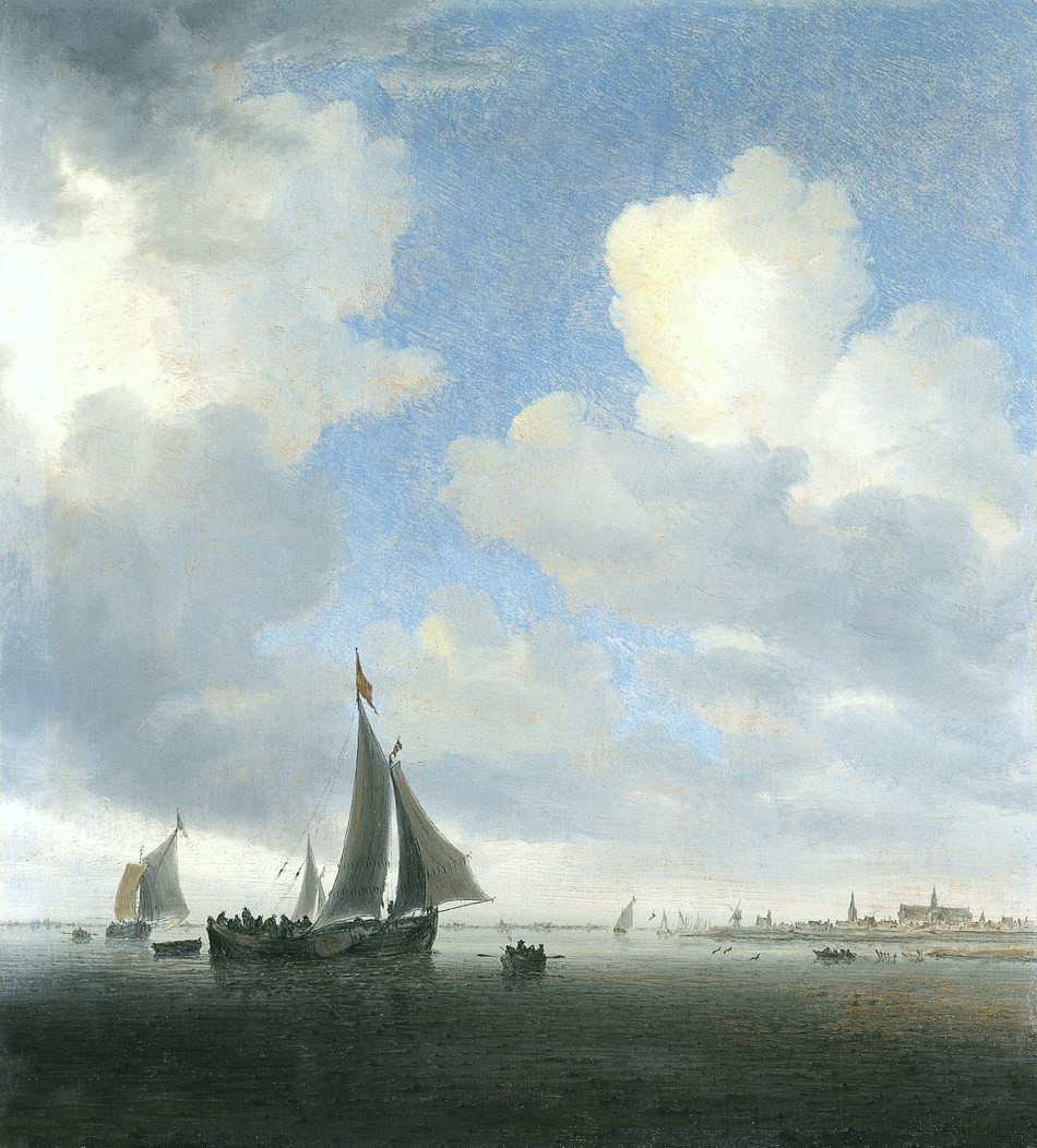 Salomon van Ruysdael – Museo Thyssen-Bornemisza 793. Title: View of Alkmaar. Date: c. 1650. Materials: oil on panel. Dimensions: 36.2 x 32.5 cm. Nr.: 793 (1930.103). Source: http://www.museothyssen.org//img/obras_grande/1930.103.jpg. I have changed the light of the original photo.