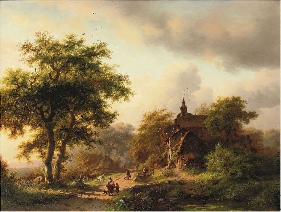 Frederik Marinus Kruseman – private collection. Title: Figures on a Sunlit Path near a Mansion. Date: 1856. Materials: oil on panel. Dimensions: 55 x 73 cm. Inscriptions: F Kruseman./1856' (lower left). Sold by Christie's in Amsterdam, on May 6, 2009, Amsterdam Source: http://cs1.livemaster.ru/storage/d7/0c/1abaf58025bab481f01481c66a7c--kartiny-panno-kartina-letnij-pejzazh-malye.jpg.