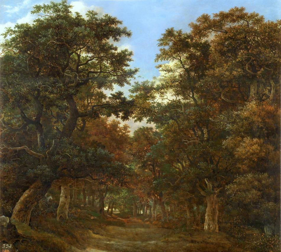 Cornelis Vroom – Museo del Prado P01728 . Title: Bosque con jinetes y perros. Date: c. 1625-1630. Materials: oil on panel. Dimensions: 55 x 61 cm. Nr.: P01728. Source: https://www.museodelprado.es/coleccion/obra-de-arte/bosque-con-jinetes-y-perros/f5f34a60-4fa5-451c-ab78-b38e50bfccee. I have changed the light, contrast and colors of the original photo. On the site of the museum, this painting is attributed to Hendrick Vroom, although in the description of the painting it is attributed to Cornelis Vroom (Sin embargo, durante la restauración llevada a cabo en 2009 se ha puesto al descubierto la firma de Cornelis Hendrick Vroom).