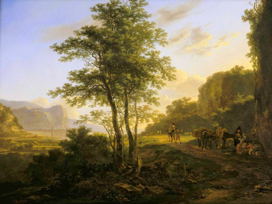 Jan Both – Johnny van Haeften Old Master Paintings. Title: An Italianate Landscape with Travellers on a Path. Date: c. 1640s. Materials: oil on panel. Dimensions: 47.6 x 63.5 cm. Inscriptions: Both (lower centre right, on a rock). Source: http://johnnyvanhaeften.com/media/blog/BOTH%20CS0306%20Italianate%20landscape.jpg/0/0/3. I have changed the light of the original photo
