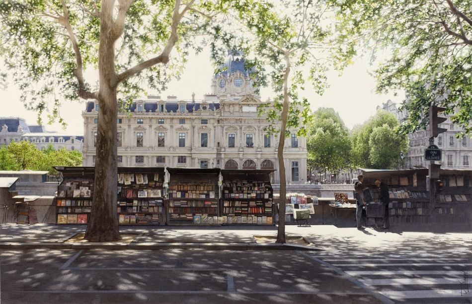 Thierry Duval – private collection. Title: Le Tribunal de Commerce et les bouquinistes. Date: 2012. Materials: watercolor. Dimensions: 72 x 52 cm.. Source: http://2.bp.blogspot.com/-gsUXb-YlwOI/VVNqhrhNCBI/AAAAAAAAfmU/hMSJi4oZEZU/s1600/30-Thierry-Duval-Snippets-of%2BReal-Life-in-Watercolor-Paintings-www-designstack-co.jpg.