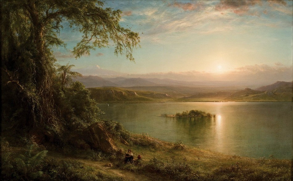Frederic Edwin Church – Museo de Arte de Ponce. Title: Amanecer en el trópico. Date: 1872. Materials: oil on canvas. Dimensions: 73 x 118.1 cm. Nr.:? Source: http://www.museoarteponce.org/admin/uploads/8830915024_59_0082_2007_big.jpg. I have changed the light and contrast of the original photo