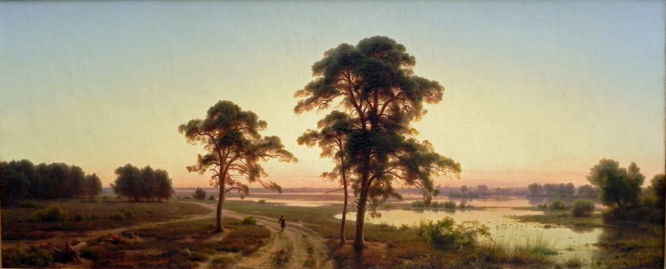 Carl Friedrich Lessing – Alte Nationalgalerie Berlin W.S. 136. Title: Schlesische Landschaft. Date: 1841. Materials: oil on canvas. Dimensions: 48 x 114 cm. Nr.: W.S. 136. Source: https://commons.wikimedia.org/wiki/File:Carl_Friedrich_Lessing_(1)Silesian_Landscape.JPG. I have changed the light of the original photo.