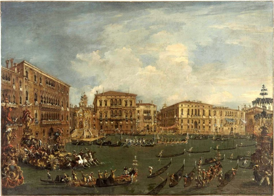 "Francesco Guardi – Philadelphia Museum of Art Cat. 307. Title: Regatta in ""Volta di Canal"". Date: c. 1760-1770. Materials: oil on canvas. Dimensions: 120.2 x 168.9 cm. Acquisition date: 1917, Nr.: Cat. 307. Source: http://www.philamuseum.org/collections/permanent/102068.html?mulR=819342152