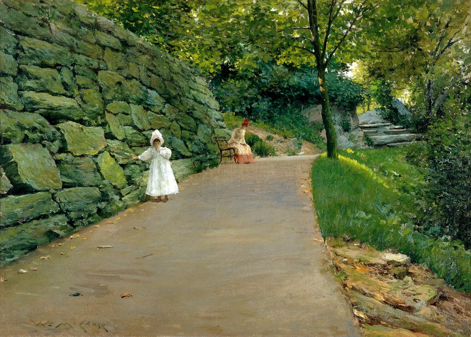 William Merritt Chase – Museo Thyssen-Bornemisza CTB.1979.15. Title: In a Park. Date: c. 1889. Materials: oil on canvas. Dimensions: 35.5 x 49 cm. Nr.: CTB.1979.15. Source: http://www.museothyssen.org//img/obras_grande/1930.103.jpg. I have changed the contrast of the original photo.