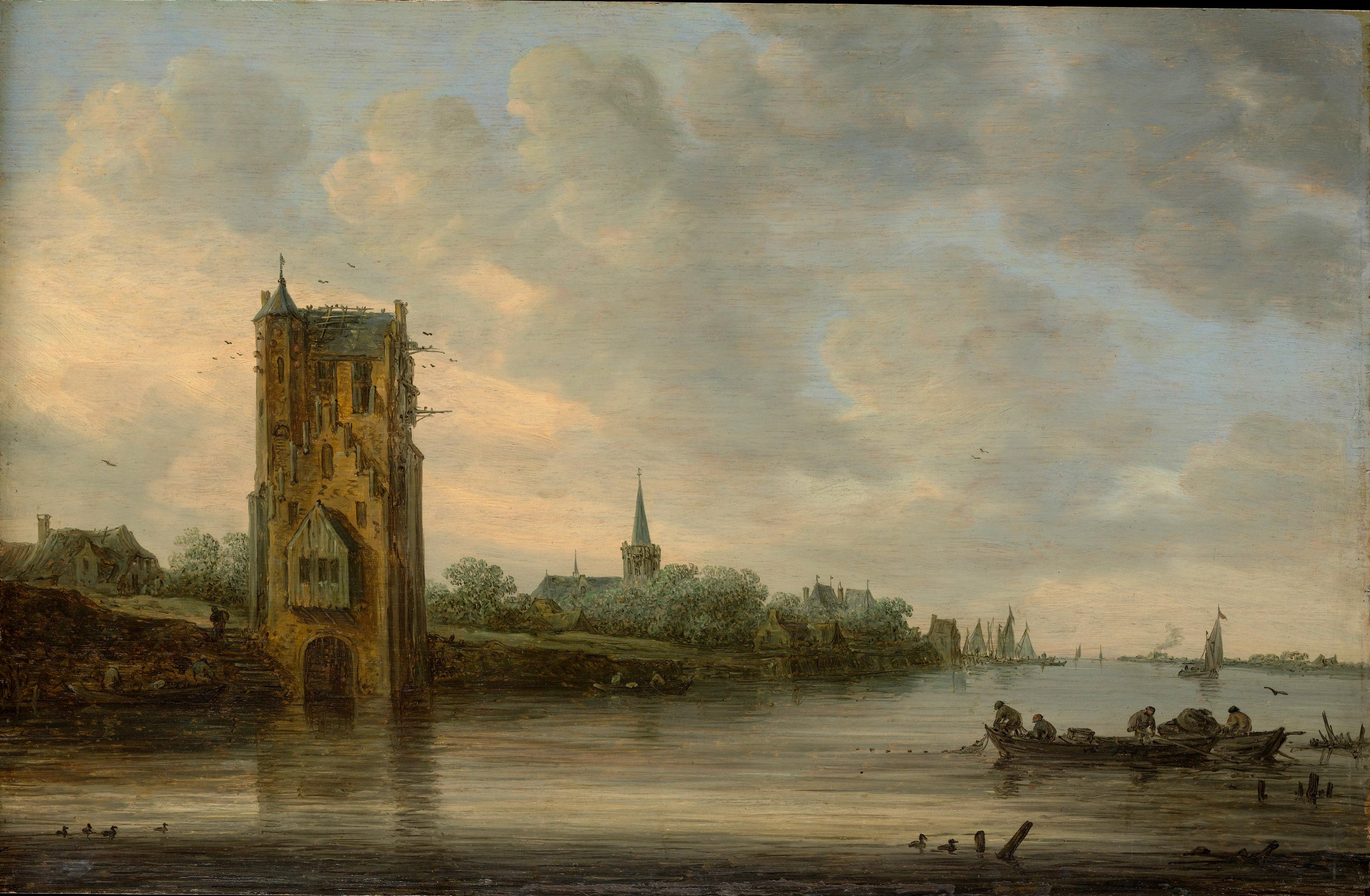 Jan van Goyen – The Metropolitan Museum of Art 45.146.3. Title: The Pelkus Gate near Utrecht. Date: c. 1646. Materials: oil on panel. Dimensions: 36.8 x 57.2 cm. Acquisition date: 1945. Nr.: 45.146.3. Source: http://images.metmuseum.org/CRDImages/ep/original/DP145926.jpg. I have changed the light of the original photo.