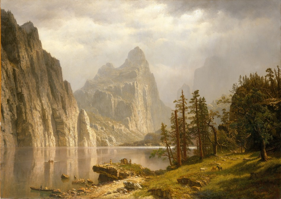 Albert Bierstadt – The Metropolitan Museum of Art 09.214.1. Title: Merced River, Yosemite Valley. Date: 1866. Materials: oil on canvas. Dimensions: 91.4 x 127 cm. Nr.: 09.214.1. Source: http://www.metmuseum.org/art/collection/search/10150.