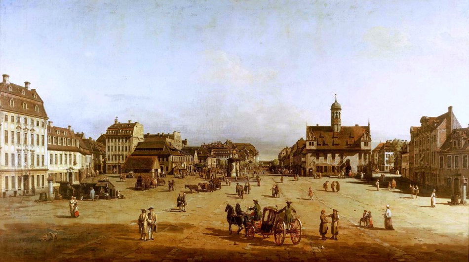 Bernardo Bellotto - Staatliche Kunstgalerien Dresden Gal.-Nr. 612. Title: Der Neustädter Markt in Dresden. Date: 1749-1750. Materials: oil on canvas. Dimensions: 134 x 236 cm. Nr.: Gal.-Nr. 612. Source: http://www.my-entdecker.de/wp-content/uploads/2015/12/gemaeldegalerie-dresden3725329.jpg. I have changed the light, contrast and colors of the original phto
