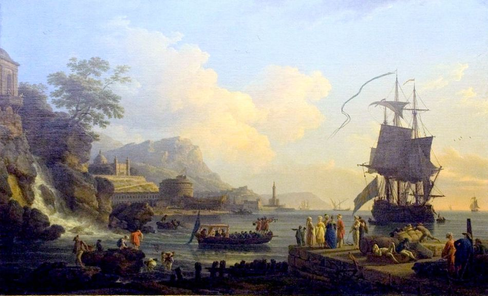 Claude-Joseph Vernet – Musée du Louvre 8348 bis. Title: Marine et paysage sur les bords de la Méditerranée. Date: 1773. Materials: oil on canvas. Dimensions: 166 x 263 cm. Nr.: inv. 8348 bis. Source: https://commons.wikimedia.org/wiki/File:Marine_et_paysage_sur_les_bords_de_la_M%C3%A9diterran%C3%A9e.jpg. I have changed the light, contrast and colors of the original photo.