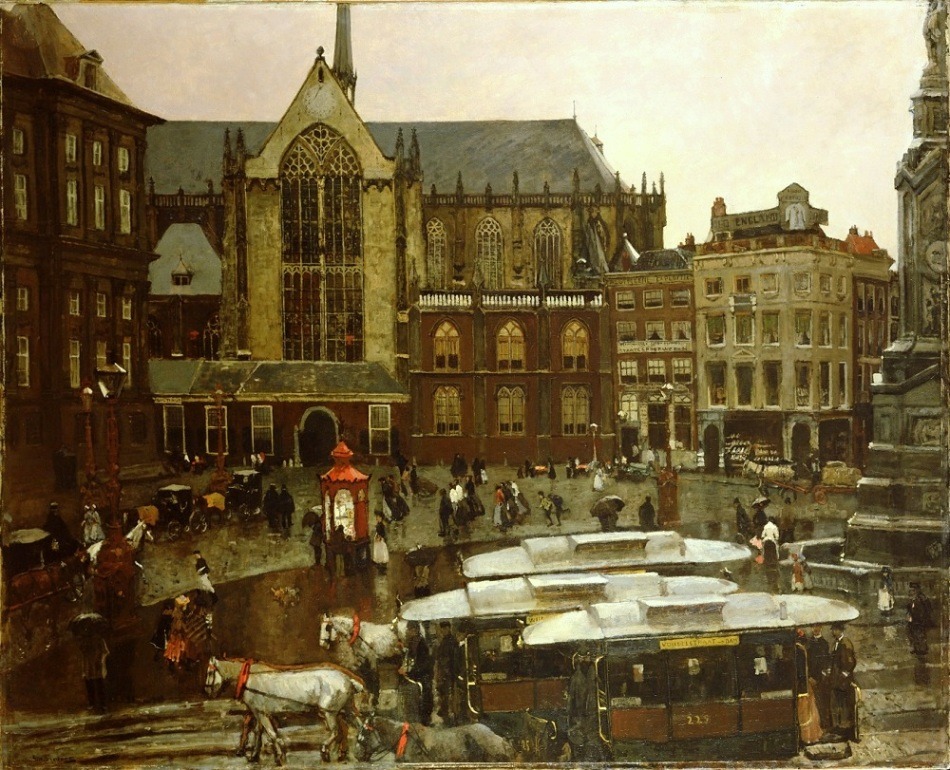George Hendrik Breitner – Amsterdam Museum SB 6344. Title: De Dam. Date: 1898. Materials: oil on canvas. Dimensions: 146 x 181 cm. Inscriptions: G.H. Breitner. Nr.: inv. SB 6344. Source: http://mart-museum.ru/wp-content/uploads/2014/04/SB_6344.jpg?fdcafc. I have changed the light, contrast and colors of the original photo.