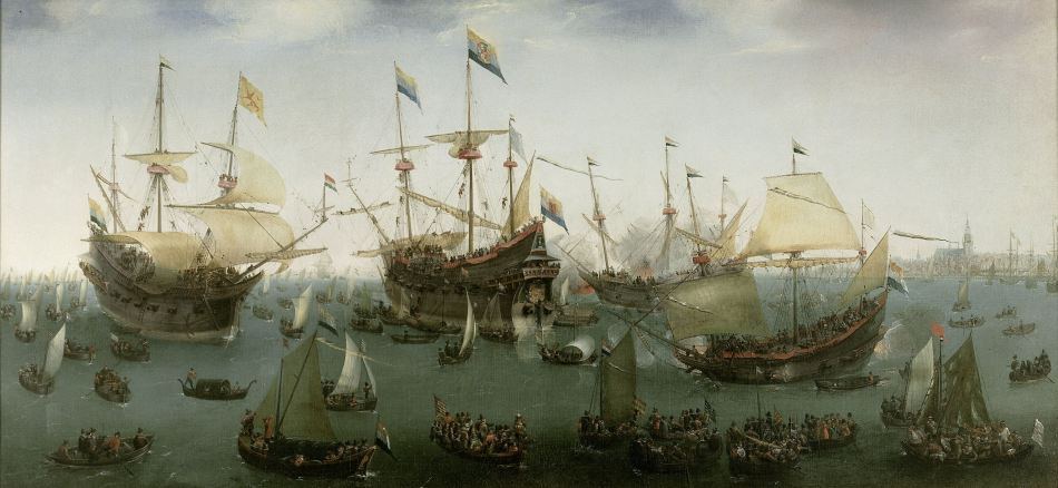 Hendrik Vroom – Rijksmuseum SK-A-2858. Title: The Return to Amsterdam of the Second Expedition to the East Indies. Date 1599. Materials: oil on canvas. Dimensions: 102.3 x 218.4 cm. Inscriptions: H Vroom F P Harlem 1599 (lower left); mavryse (on one of the ships). Acquisition date: 1821. Nr.: SK-A-2858. https://www.rijksmuseum.nl/en/collection/SK-A-2858.