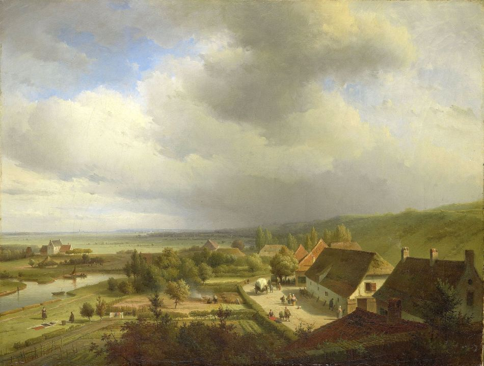 Abraham Johannes Couwenberg – Rijksmuseum SK-A-4924. Title: Hilly Landscape near Wageningen. Date: c. 1833-1844. Materials: oil on canvas. Dimensions: 49 x 64.5 cm. Inscriptions: A.J. Couwenberg. Acquisition date: 1997. Nr.: SK-A-4924. Source: https://www.rijksmuseum.nl/en/collection/SK-A-4924 g. I have changed the contrast of the original photo.