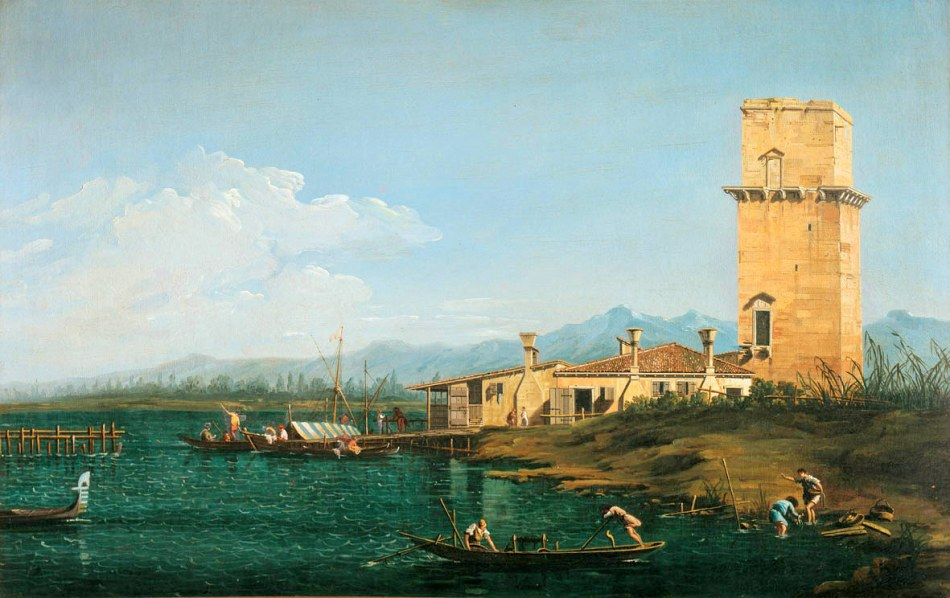 Canaletto – Galleria degli Uffizi 1890. Title: La torre di Marghera. Date: c. 1740-1750. Materials: oil on canvas. Dimensions: 61 x 98 cm. Nr.: inv. 1890. Source: http://www.arttrav.com/wp-content/uploads/2010/11/uffizichina23.jpg. I have changed the light and contrast of the original photo.