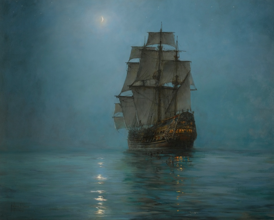Montague Dawson – private collection. Title: Crescent Moon. Date: c. 1940s-1960s. Materials: oil on canvas. Dimensions: 101.5 x 127 cm. Inscriptions: MONTAGUE DAWSON (lower left). Sold by Sotheby's in London, on Novermber 15, 2011. SourceMontague Dawson.