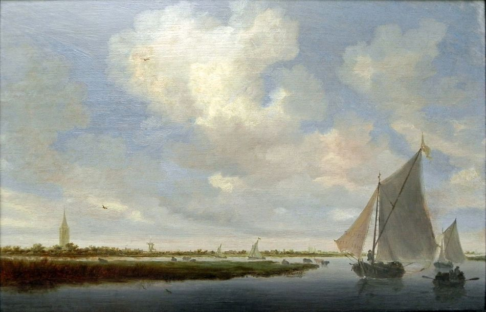 Salomon van Ruysdael – Gemäldegalerie Berlin. Title: Segelboote auf dem Wijkermeer. Date: 1648. Materials: oil on canvas. Dimensions: ? Nr.: ? Source: https://commons.wikimedia.org/wiki/File:Salomon_van_Ruysdael_(7)Segelboote_a_Wijkermeer.JPG. I have changed the contrast of the original photo.