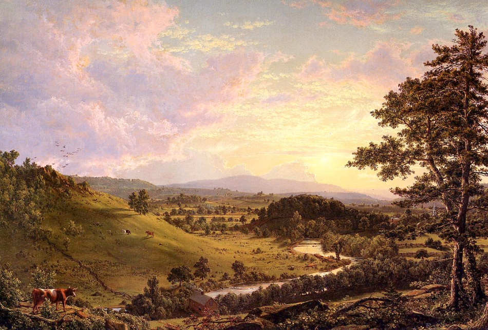 Frederic Edwin Church – private collection? Title: View near Stockbridge, Mass. Date: 1847. Materials: oil on canvas. Dimensions: 69.2 x 101.6 cm. Sold by Sotheby's in New York, on December 3, 1998. Source: http://2.bp.blogspot.com/-penjkSIq17w/Ucw2GEBietI/AAAAAAAAicI/FHZtF1ecYTU/s1310/1847+View+near+Stockbridge,+Mass.+oil+on+canvas+69.2+x+101.6+cm.jpg. I have changed the light of the original photo.