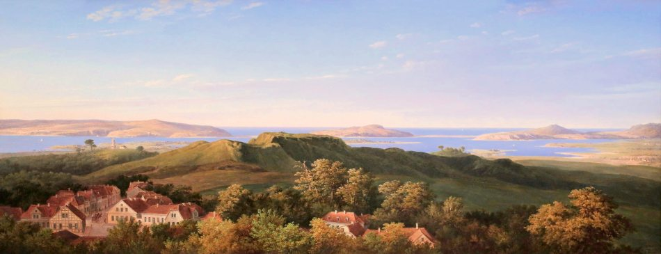 Karl Friedrich Schinkel – Alte Nationalgalerie Berlin NG 6/91. Title: Der Rugard auf Rügen. Date: 1821. Materials: oil on paper laid on canvas. Dimensions: 51 x 132 cm. Nr.: NG 6/91. Source: https://www.flickr.com/photos/mazanto/23679987901/in/dateposted. I have changed the light, contrast and colors of the original photo.