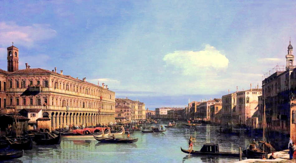 Canaletto – Wallraf-Richartz-Museum & Fondation Corboud. Title: View of the Grand Canal. Date: c. 1735. Materials: oil on canvas. Dimensions: 73 x 129 cm. Nr.: ? Sourcehttps://www.flickr.com/photos/mazanto/27481984663/in/dateposted/. I have changed the light, contrast and colors of the original photo.