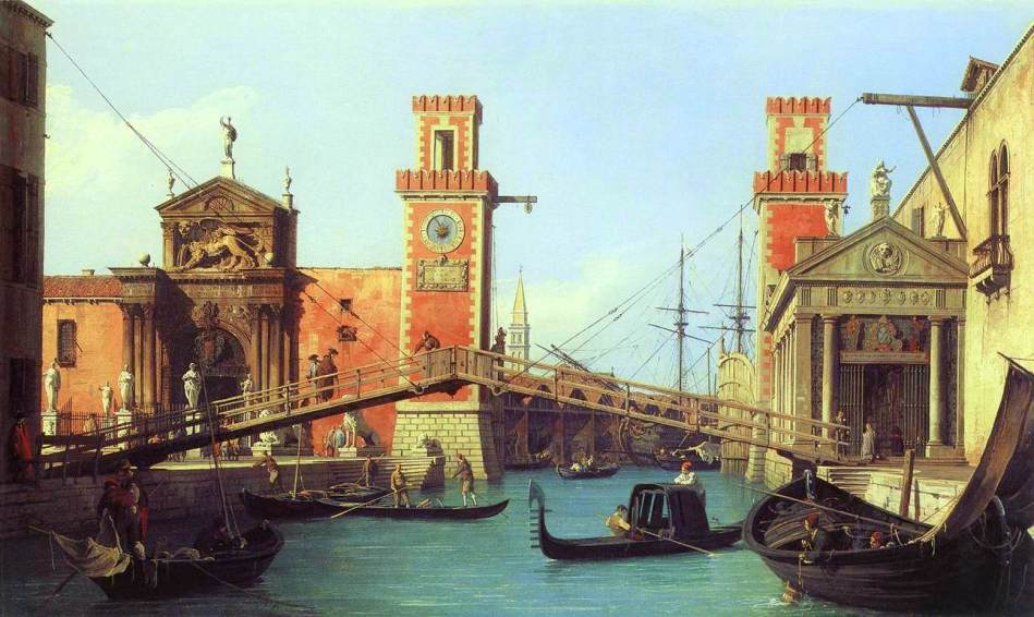 Canaletto – private collection. Title: View of the Entrance to the Arsenal. Date: c. 1732. Materials: oil on canvas. Dimensions: 47 x 78.8cm. Source: http://www.wga.hu/art/c/canalett/4/canal406.jpg. I have changed the light, contrast and colors of the original photo.