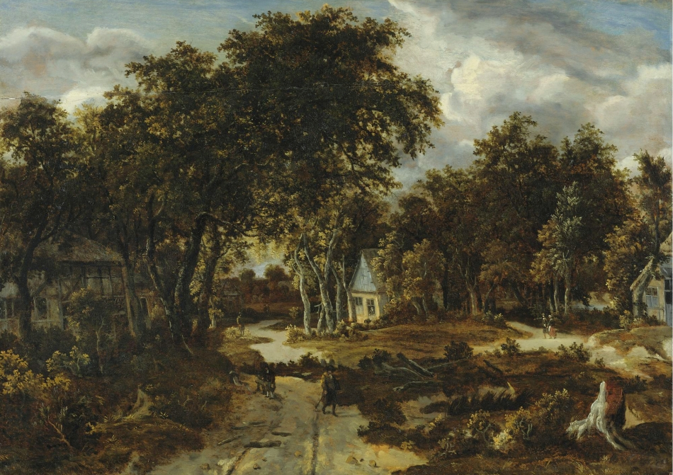 Meindert Hobbema – private collection. Title: Village Landscape. Date: c. early 1660s. Materials: oil on panel. Dimensions: 76.2 x 106.7 cm. Sold by Sotheby's in New York, on January 29-30, 2009. Source: http://www.sothebys.com/content/dam/stb/lots/N08/N08516/N08516-135-lr-1.jpg/. I have changed the light and contrast of the original photo.