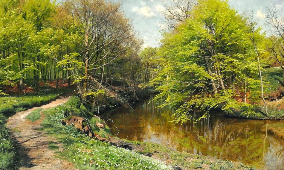 Peder Mørk Mønsted – private collection. Title: Nyudsprungne bøgetræer og anemoner i skovbunden ved et åløb i en skovlysning. Date: 1904. Materials: oil on canvas. Dimensions: 90 x 150 cm. Source: http://3.bp.blogspot.com/-wcVweqfbUk8/VU9pULSb3AI/AAAAAAAAYic/pLzyn-IQVDI/s1600/PEDER%2BMORK%2BMONSTED%2B-%2BFais%2Be%2Ban%C3%AAmonas%2Bao%2Blongo%2Bde%2Bum%2Bc%C3%B3rrego%2Bnuma%2Bclareira%2B-%2B%C3%93leo%2Bsobre%2Btela%2B-%2B90%2Bx%2B150%2B-%2B1904.jpg. I have changed the light and contrast of the original photo.