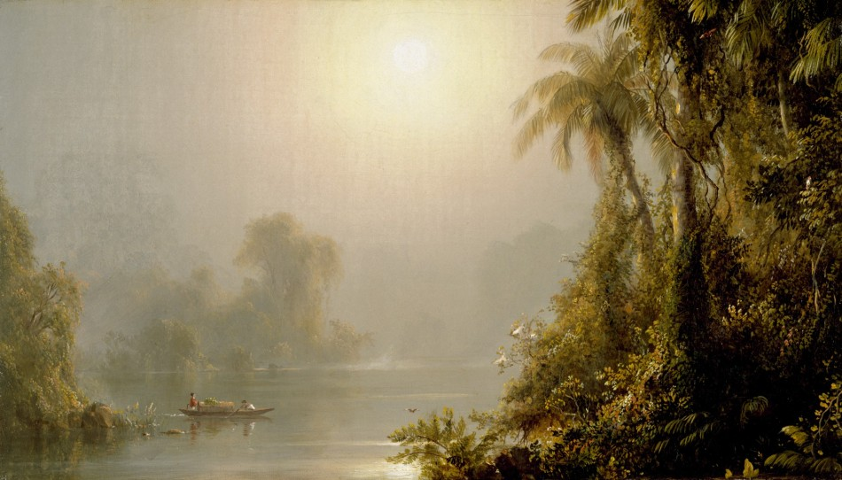 Frederic Edwin Church – The Walters Art Museum 37.147. Title: Morning in the Tropics. Date: c. 1858. Materials: oil on canvas. Dimensions: 21 x 35.5 cm. Nr.: 37.147. Source: http://art.thewalters.org/detail/4216/morning-in-the-tropics.