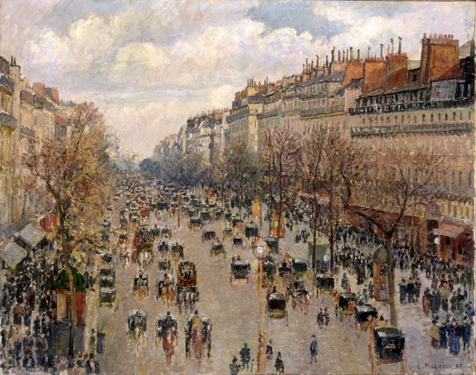Camille Pissaro – The Hermitage Museum ГЭ-9002. Title: Boulevard Montmartre in Paris. Date: 1897. Materials: oil on canvas. Dimensions: 74 x 92.8 cm. Nr.: ГЭ-9002. Source: http://www.hermitagemuseum.org/wps/portal/hermitage/digital-collection/01.+Paintings/28682/?lng=en. I have changed the light, contrast and colors of the original photo.