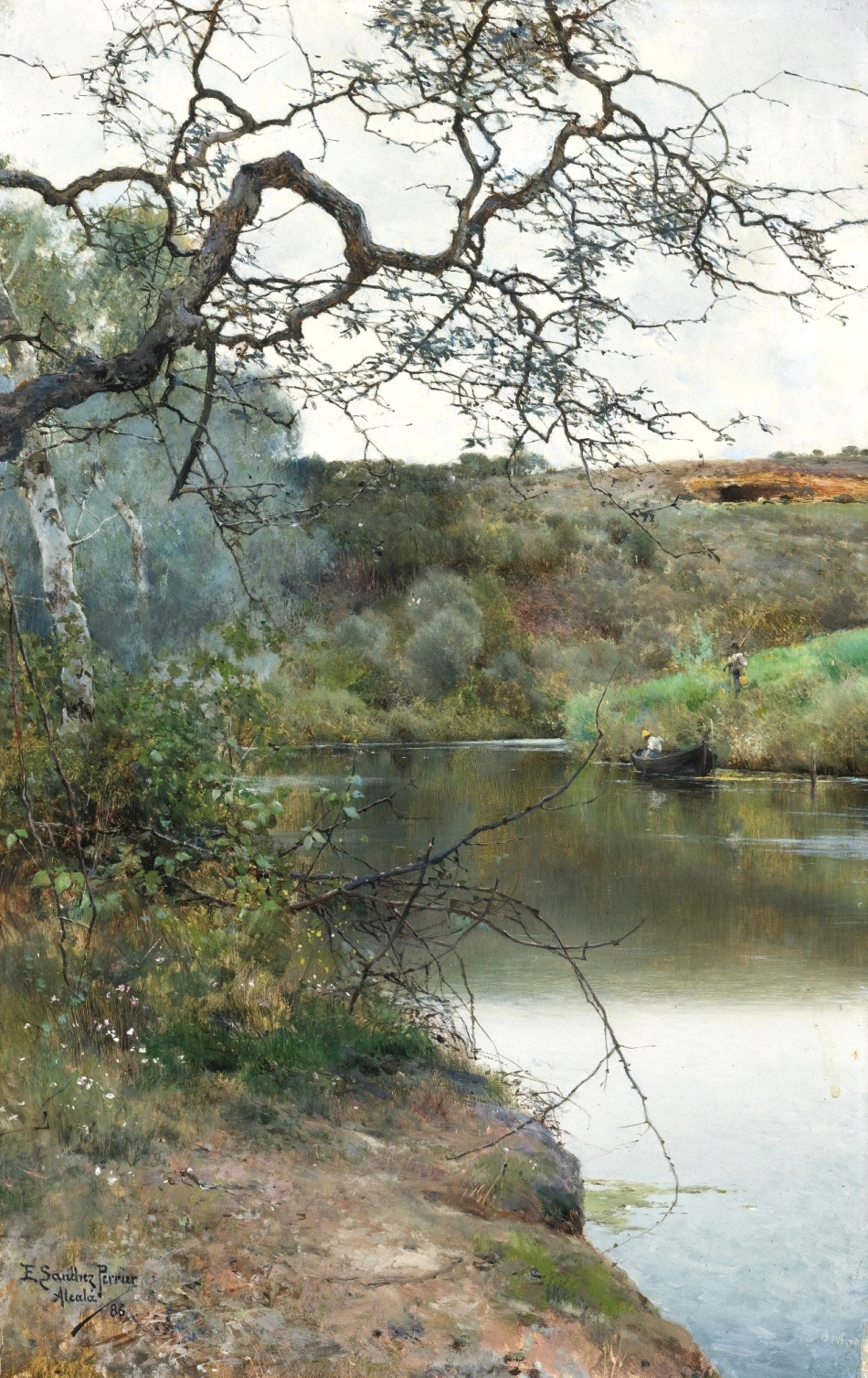 Emilio Sánchez Perrier – private collection. Title: Boating Along a Quiet River. Acalà. Date: 1886. Materials: oil on panel. Dimensions: 35.2 x 22.2 cm. Inscriptions: E. Sanchez Perrier. Acalà/86 (lower left). Source: http://www.sothebys.com/content/dam/stb/lots/N09/N09034/092N09034_74T7Y.jpg. I have changed the light and contrast of the original photo.