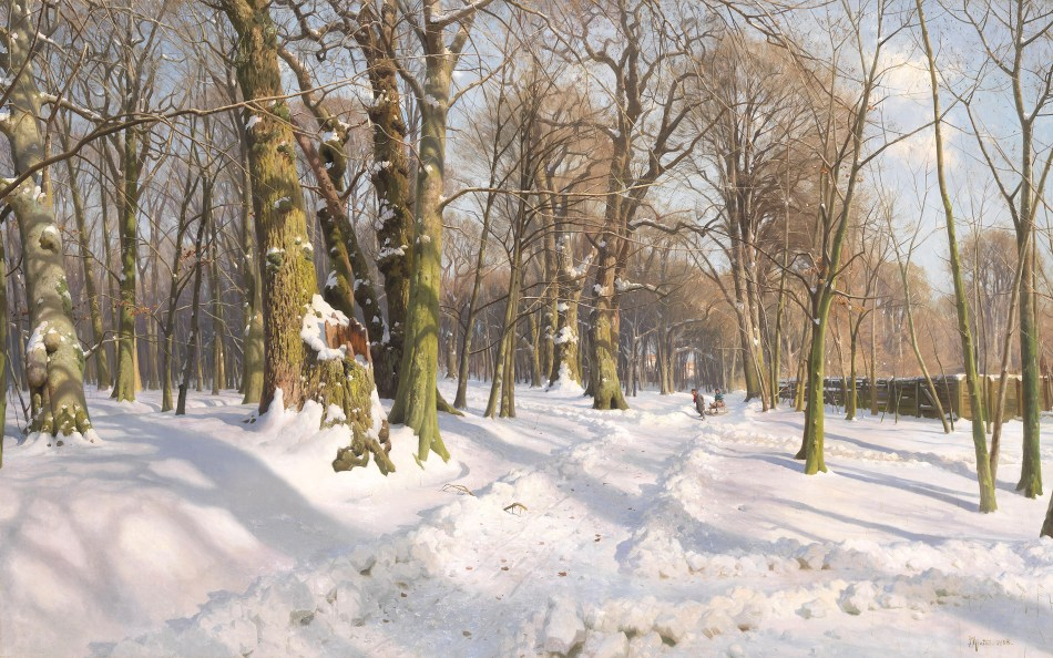 Peder Mørk Mønsted – private collection. Title: Verschneiter Waldweg bei Sonnenlicht. Date: 1908. Materials: oil on canvas. Dimensions: 120 x 200 cm. Sold by Ketterer Kunst in Munich, on May 14, 2013. Source: http://www.altertuemliches.at/files/113000231.jpg. I have changed the light and contrast of the original photo.